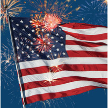 Firework Finale Flag Lunch Napkins 16 ct 4th July Stars Stripes Lunch - £3.62 GBP