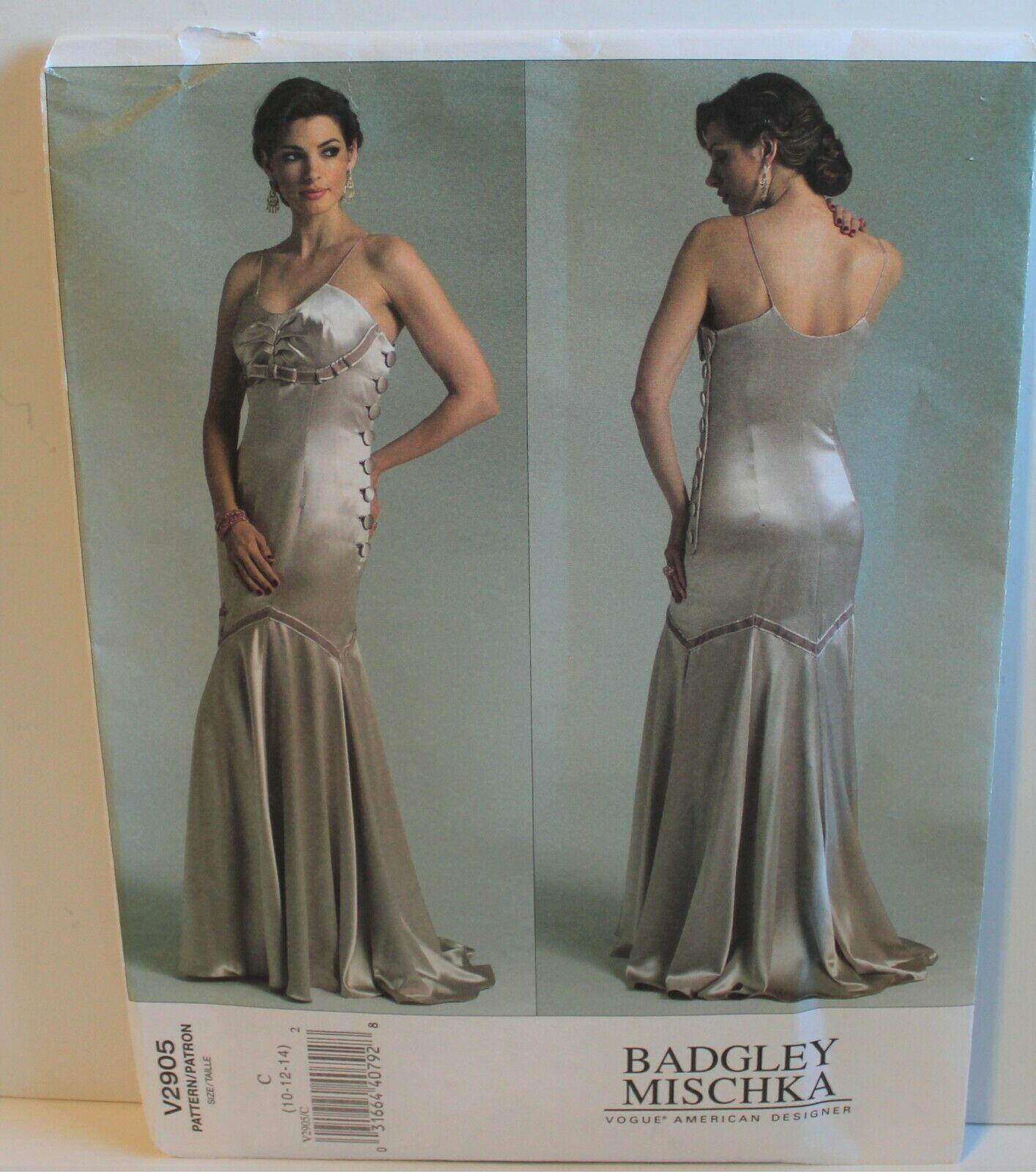 Vogue Sewing Pattern 2905 Badgley Mischka Formal Dress Size 10 12 14