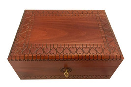 Large Handmade Wooden Box HEARTS Jewelry Box Keepsake Lock &  Key Made i... - €45,32 EUR