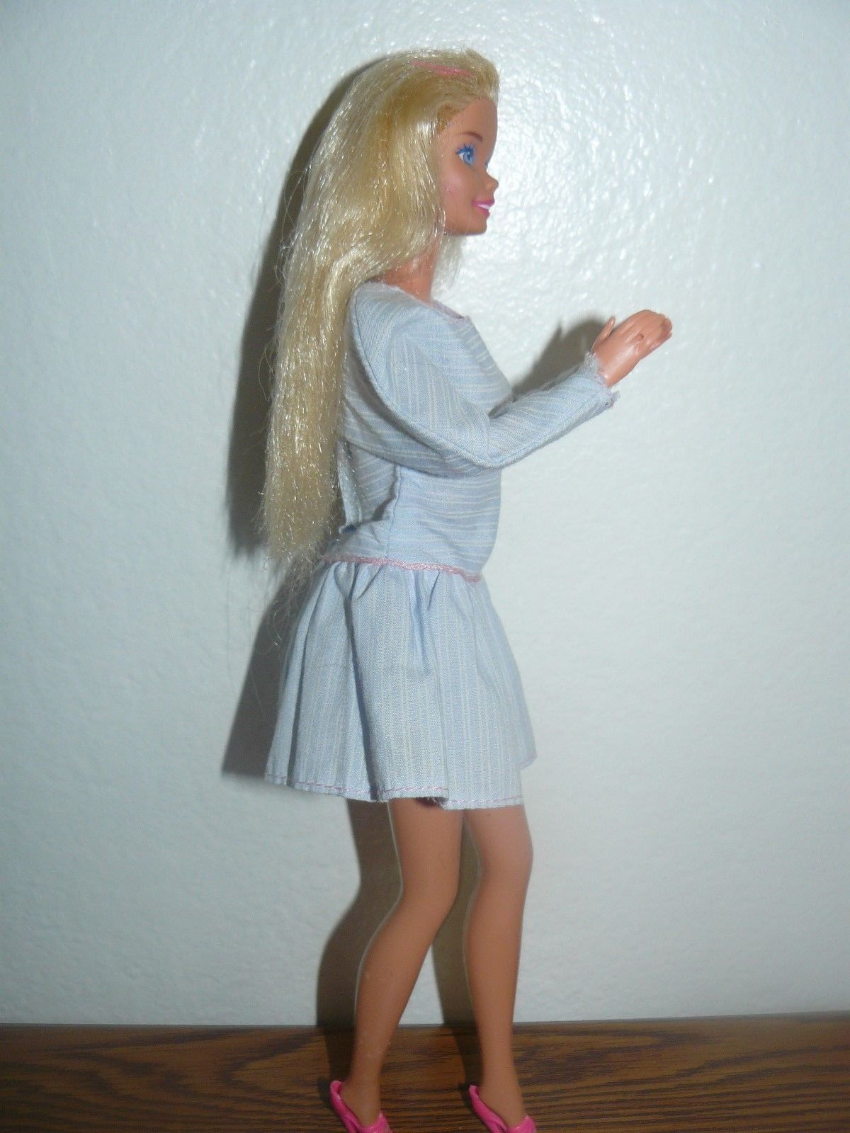 83ff6cc9d1ed Mattel Blond Barbie Doll in light blue dress pink shoes white earrings