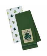 Lucky Day Dish Towels Set of 2 Shamrocks Clover St Patrick's Day Kitchen... - $19.79