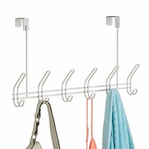iDesign Classico Metal Over the Door Organizer, 6-Hook Rack for Coats, Hats, Rob
