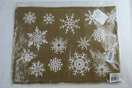 "Christmas Holiday Snowflake Table Runner Tan Cotton Burlap Fringes 13"" x... - $5.93"