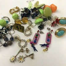 Vtg Earring lot pierced small colorful post dangler boho hippy mixed mat... - $12.86
