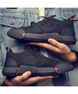 New Brand High quality fashion Black leather casual Men's shoes Breathab... - $32.45