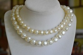 Vintage Lisner double strand baroque faux pearl choker necklace big clas... - $37.61