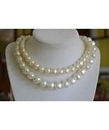 Vintage Lisner double strand baroque faux pearl choker necklace big clas... - $37.61
