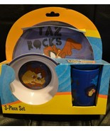 Looney Tunes TAZ 3 piece set Plate Bowl Cup Melamine Kids WB Tax Rocks -... - $21.59