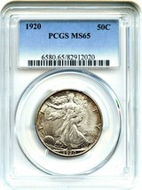 1920 50c PCGS MS65 - Beautiful Gem Type Coin - Walking Liberty Half Dollar - $3,288.30