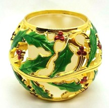 Lenox Gold Tone Enamel Holly Berries Leaves Christmas Votive Candle Hold... - $13.00
