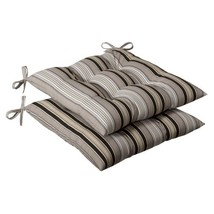 Pillow Perfect Indoor/Outdoor Striped Tufted Seat Cushion, Black/Beige - £44.85 GBP