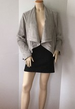 H by Halston Light Gray Open Front Faux Suede Jacket (Size L) - $29.95