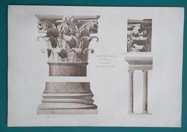 PANTHEON ROME Portico Corinthian Capital - 1905 Espouy Heliogravure Print - $35.96