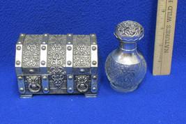 Vintage Silver Tone Jewelry Treasure Chest Trinket Box Avon Perfume Bott... - $24.74