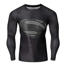 2017 New Marvel Comics Superman T-shirts Long Sleeve outdoor Tight Sports Tops - $8.99