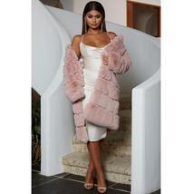 Women's High Fashion Long Faux Rabbit Fur Coat image 2