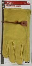 Hyper Tough Gold Tan 100% Goatskin Leather Garden Yard Work Glove w/ Cin... - $12.86