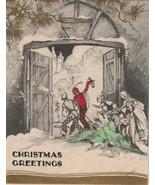 Vintage Christmas Card Children Open Door Carrying Tree 1920s - $7.91