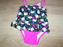 Size 2T Hello Kitty One-Piece Swimsuit Bathing Swim Suit Black Pink New - $16.00