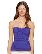 NEW Anne Cole Twist front Ruched Solid Bandeau Tankini Top IRIS XS XSmall - $24.74
