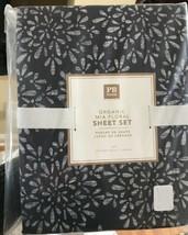 Pottery Barn Teen Mia Sheet Set Ebony Full Floral Flower Petals Black 4pc New - $64.93
