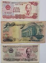 Viet Nam 500 Dong, 1000 Dong, 2000 Dong banknotes - $1.45