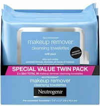 Neutrogena Makeup Remover Wipes Alcohol-Free, 2 Pack 50 Wipes NEW EXPEDITED SHIP - $10.88