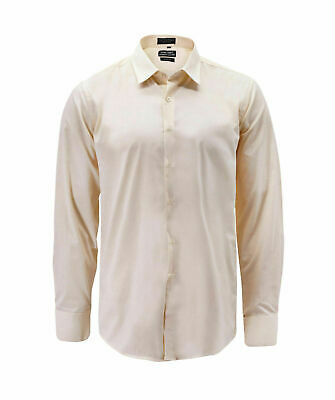 Men's Classic Button Up Long Sleeve Cream Color Slim Fit Dress Shirt - Medium