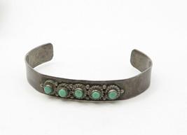 MS MEXICO 925 Silver - Vintage Turquoise Twist Detail Cuff Bracelet- B6335 image 2