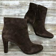 Anne Klein Womens 8.5M Caroline Ankle Boot Brown Suede Tassel Zip Split Toe - $36.99