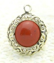 VTG Silver Tone Red Carnelian Jade Turquoise Round Embossed Pendant - $19.80