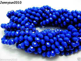 72pcs Opaque Blue Faceted Crystal Rondelle Loose Spacer Beads 6mm x 8mm - $1.63