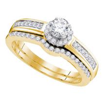 10kt Yellow Gold Round Diamond Bridal Wedding Engagement Ring Band Set 1/2 Ctw - $619.00