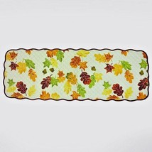 "Fall Leaves Table Runner 13x36"" Quilted Leaf Autumn Beige Orange Yellow ... - $14.99"