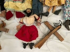 """Lot (10) Antique Handmade Marionette Doll Wood Resin 12.5"""" to 20"""" Man Woman image 7"""