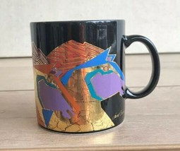 Laurel Burch Artistic Coffee Mug Cup Wild Stallions Black Foiled Gold Mu... - $24.74