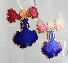 Genuine Cloisonne Enamel Cobalt & Rose Iris Flower Pierced Earrings 1970... - $14.20