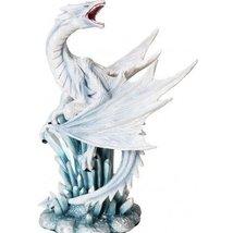 10.5 Inch White Ice Dragon on Crystal Mythological Statue Figurine - $46.33