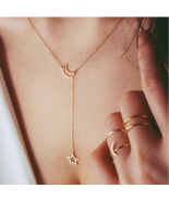 Minimalist Necklace Star Moon Pendant Silver Gold Necklace Gift Pouch - $12.99