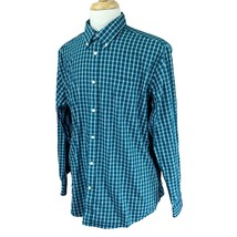 Eddie Bauer Men's Relaxed Fit Wrinkle Resistant Green Check Shirt Large - $21.67