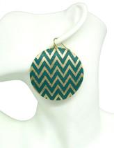 Women new greem glitter gold pattern round disc hook pierced earrings - $24.64 CAD