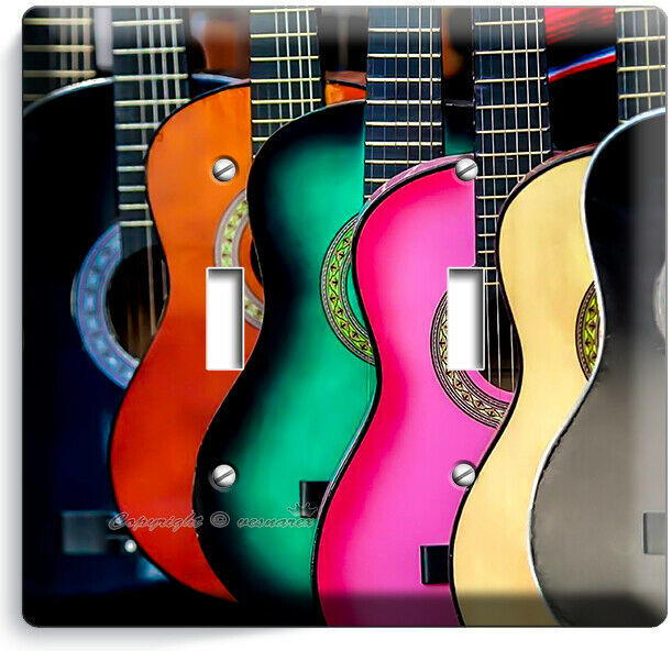 COLORFUL ACOUSTIC GUITARS 2 GANG LIGHT SWITCH WALL PLATE MUSIC STUDIO ROOM DECOR