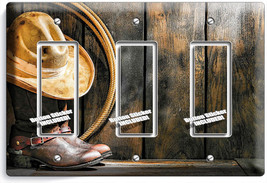 COWBOY BOOTS HAT LASSO RUSTIC COUNTRY 3 GANG GFCI LIGHT SWITCH PLATES RO... - $16.19