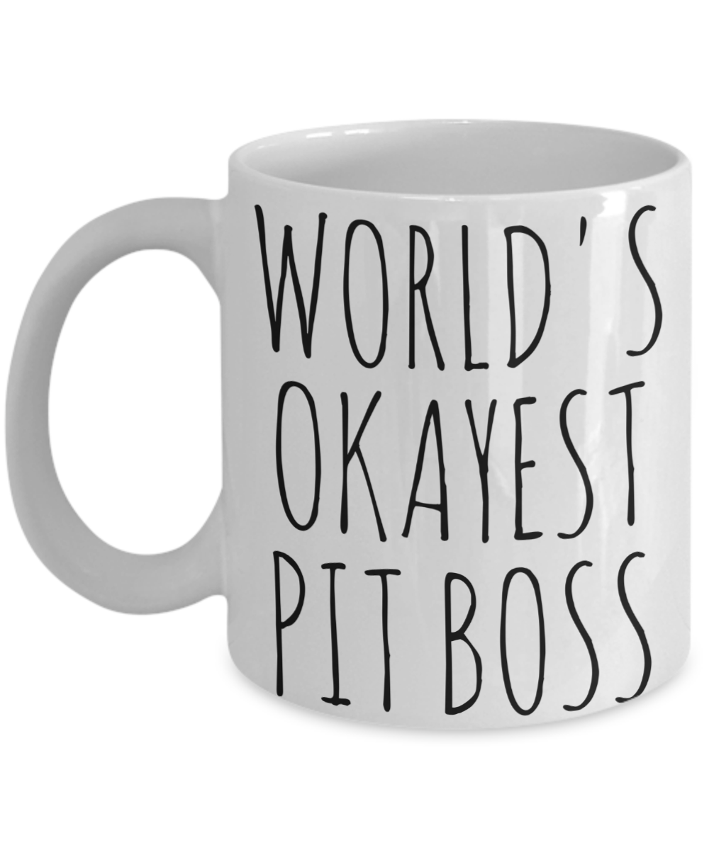 Worlds Okayest Pit Boss Mug Funny Gift Casino Floor Manager Birthday Coffee Cup