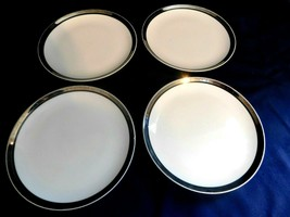 C Mikasa Bone China Solitude Platinum Band Salad Plates Lot of 4 Classy ... - $9.47