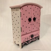GIRLS' Women's Jewelry Box WOOD Storage Case CABINET PINK Black POLKA DOTS - €18,84 EUR