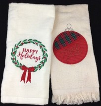 2 New Christmas Hand Kitchen Cream Towels Happy Holiday Wreath Noel Red ... - $19.74