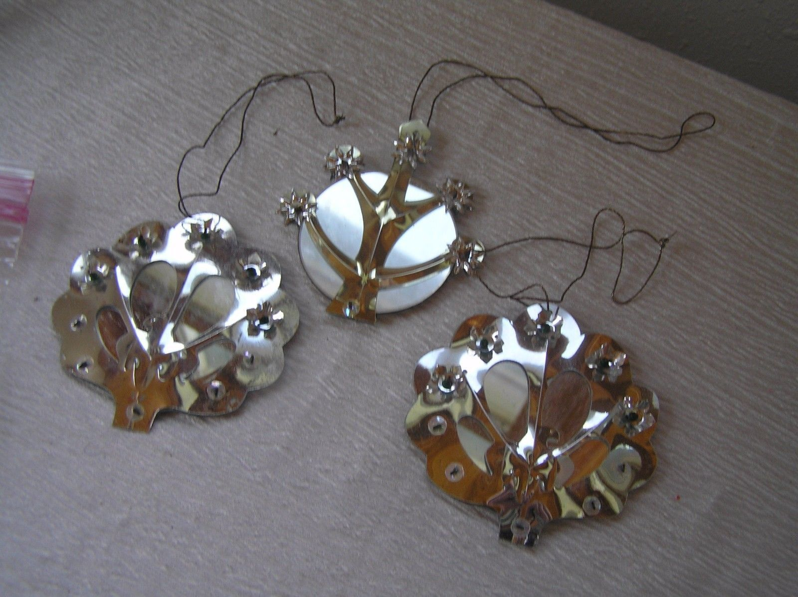 Vintage Lot of 3 Round Mirror & Silver Colored Decorations Folk Art Christmas