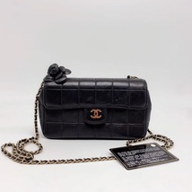 AUTHENTIC CHANEL Lambskin Camellia Mini Flap Black Flap Bag GHW