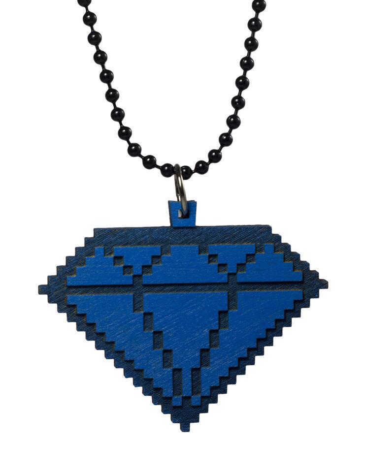 Good Wood New York Azul 8 Bit Madera Colgante con Diamante Collar Esfera Nwt